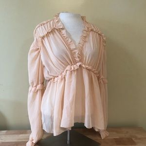 Nasty Gal Baby Pink Ruffle Blouse Size 4